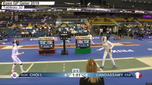 Watch CHOI L 4 GIF by Scott Dubinsky (@fencingdatabase) on Gfycat. Discover more gender:, leftname: CHOI L, leftscore: 4, rightname: CAN DASSAMY, rightscore: 9, time: 00021407, touch: right, tournament: doha2019, weapon: epee GIFs on Gfycat