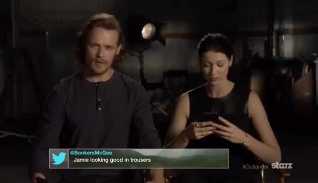 Watch and share Outlander   Sam & Caitriona Read Your Tweets   STARZ GIFs on Gfycat