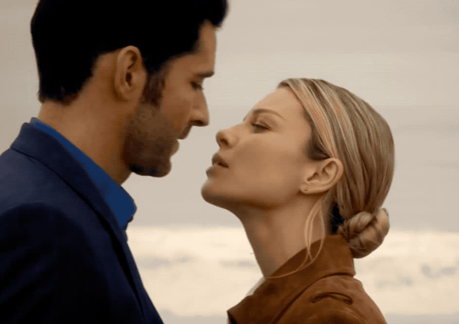 I love you, chloe, decker, in love, kiss, kisses, lips, love, lucifer, romance, romantic, sexy, sweet, together, you, Lucifer and Chloe Decker kiss GIFs