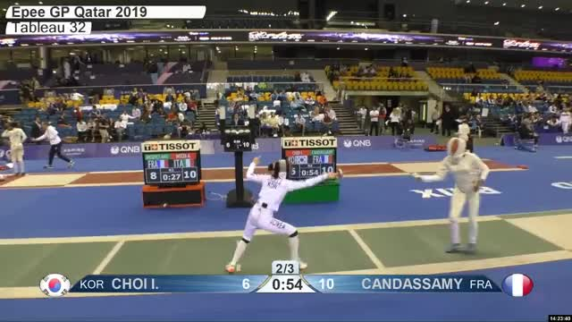 Watch CHOI L 7 GIF by Scott Dubinsky (@fencingdatabase) on Gfycat. Discover more gender:, leftname: CHOI L, leftscore: 7, rightname: CAN DASSAMY, rightscore: 11, time: 00021505, touch: double, tournament: doha2019, weapon: epee GIFs on Gfycat