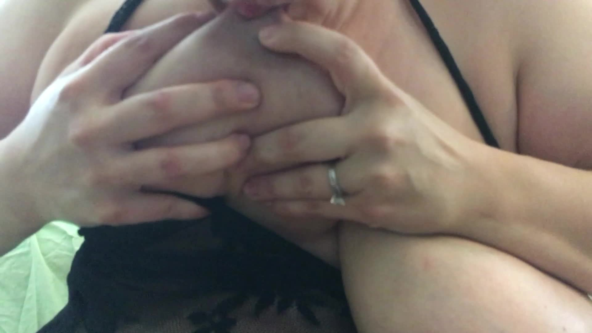 Many asked and here it is, me licking and sucking on my giant milky tits