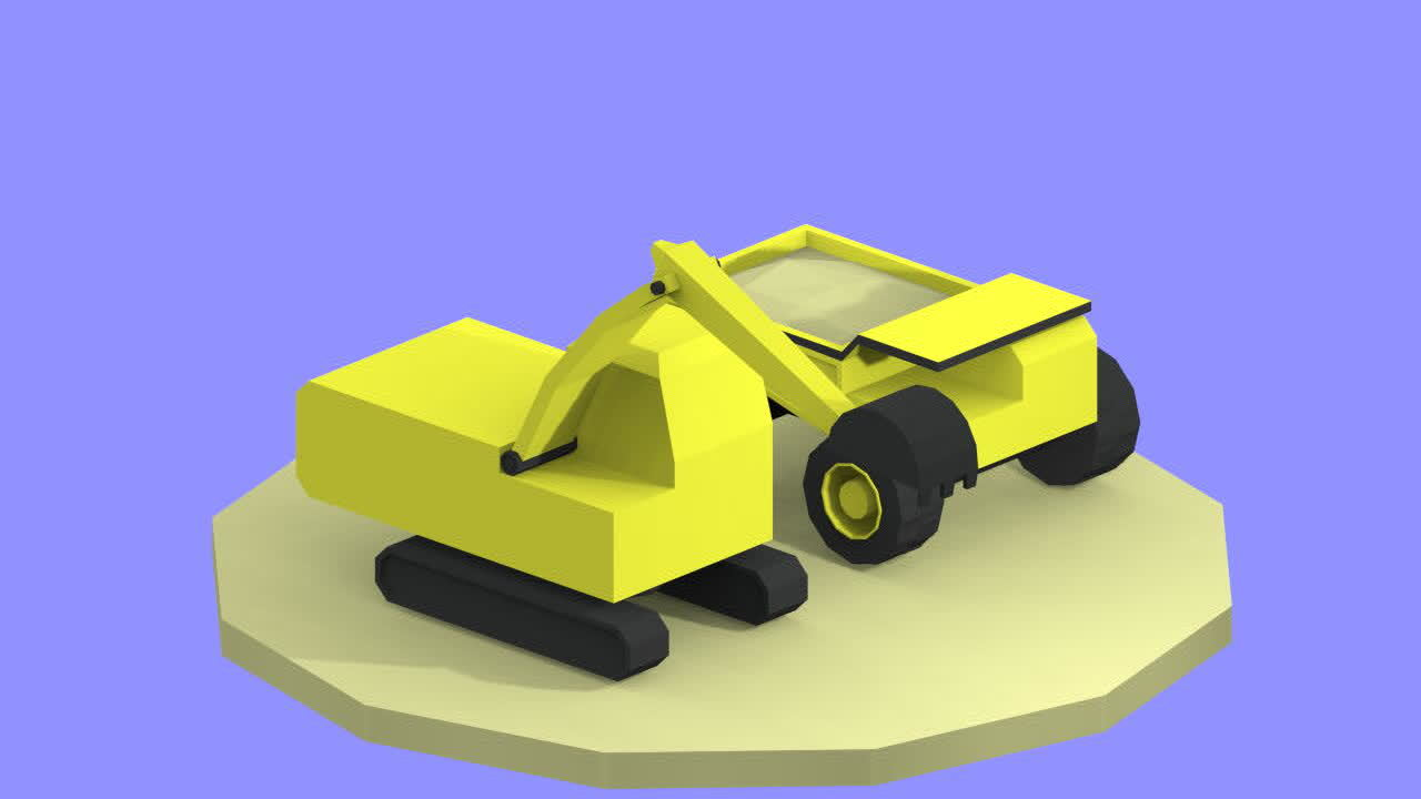 low_poly, Quarry vehicles Low Poly GIFs