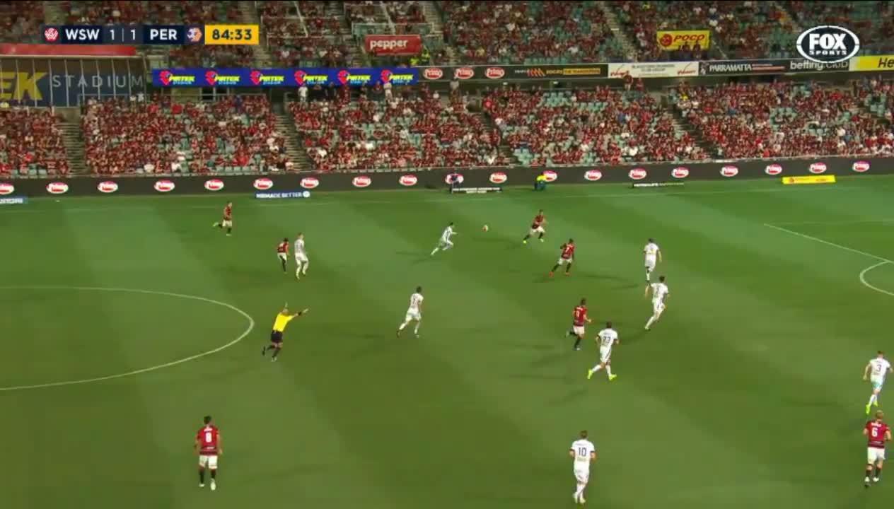 aleague, soccer, Santalab goal - Western Sydney Wanderers 2-1 Perth Glory GIFs
