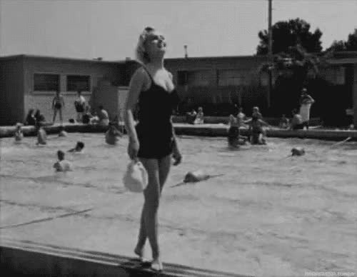 Watch this GIF on Gfycat. Discover more 1950s, Marilyn Monroe, bathing suits, fashion, swiming pool, video GIFs on Gfycat
