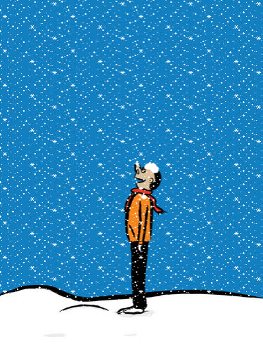 art, blue sky, downsign, downsign gif, sam omo, snow, snow day, snowing, weather, Snow Day GIFs