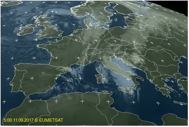 Watch and share EUMETSAT Satellite Image Of Europe - 03:00 - 10:00 UTC, September 11, 2017 GIFs by The Watchers on Gfycat
