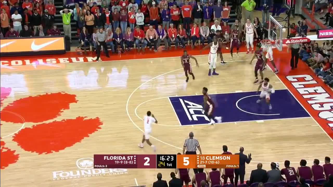 2017, ACC, Basketball, Clemson, ESPN, FSU, Florida, Seminoles, State, Tigers, 2017-18 College Basketball: Florida State vs. (#18) Clemson (Full Game) GIFs