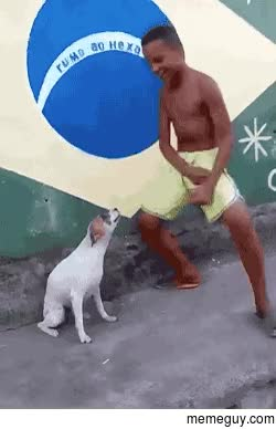 Watch and share Brazilian Kid Dancing With His Dog GIFs on Gfycat