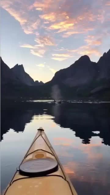 cool, gifs, interestingasfuck, nature, Kayaking in Lofoten, Norway GIFs