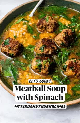 Watch and share Meatball Soup GIFs and Spinach GIFs by triedandtruerecipes on Gfycat