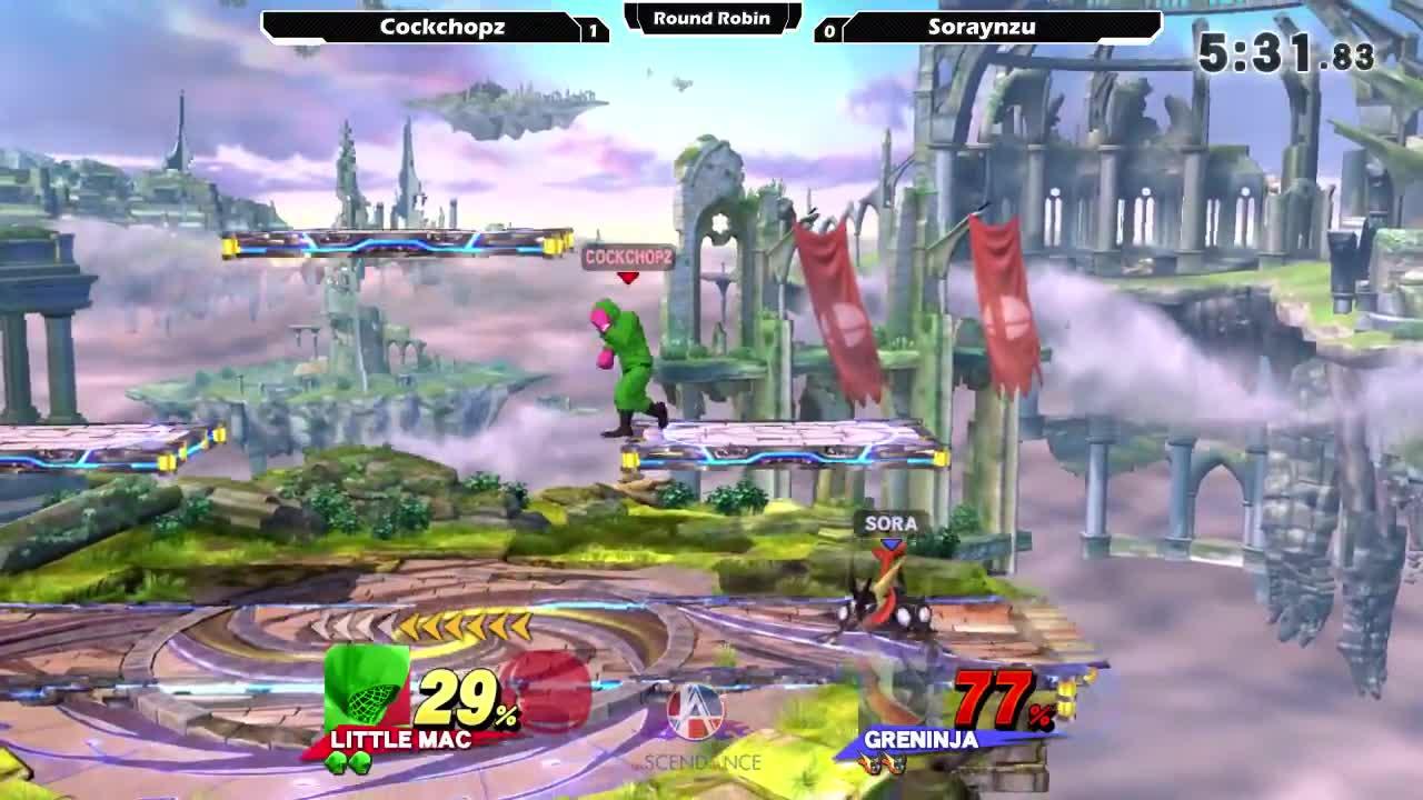 SSB4, Sm4sh, Smash, Smash 4 Wii U, Smash Bros, Smash4WiiU, SmashBros, Super Smash Bros, Super Smash Brothers Smash Brothers Smash4, SuperSmashBros, smashgifs, ssmb, Smash 4: Cockchopz (Little Mac) V Soraynzu (Greninja) - Ascendance 77 Tournament SSB4 GIFs