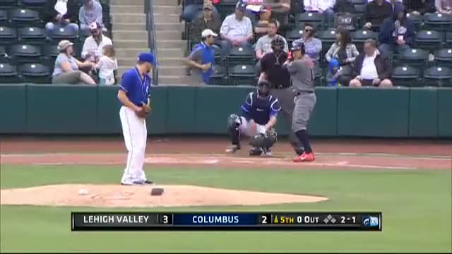 Watch Lehigh Valley's Hoskins homers to left-center GIF by Razzball (@razzball) on Gfycat. Discover more milb, minor leagues, rhys hoskins GIFs on Gfycat