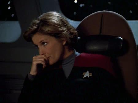 Janeway, Kate Mulgrew, Kathryn Janeway, Reaction, Star Trek, Star Trek Voyager, VOY, Voyager, Janeway Reaction 11 GIFs