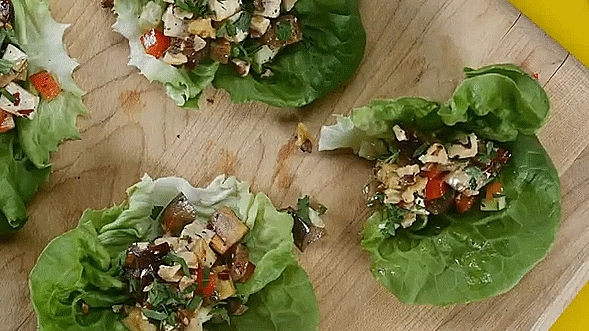 GifRecipes, vegangifrecipes, Eggplant and Tofu Lettuce Cups GIFs