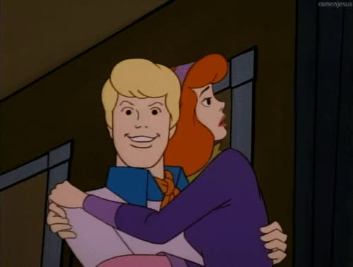 Watch this netflix and chill GIF by ioanna on Gfycat. Discover more celebrate, couple, daphne, doo, excited, freddy, girl, got, happy, hug, save, scared, scooby, the, wink GIFs on Gfycat