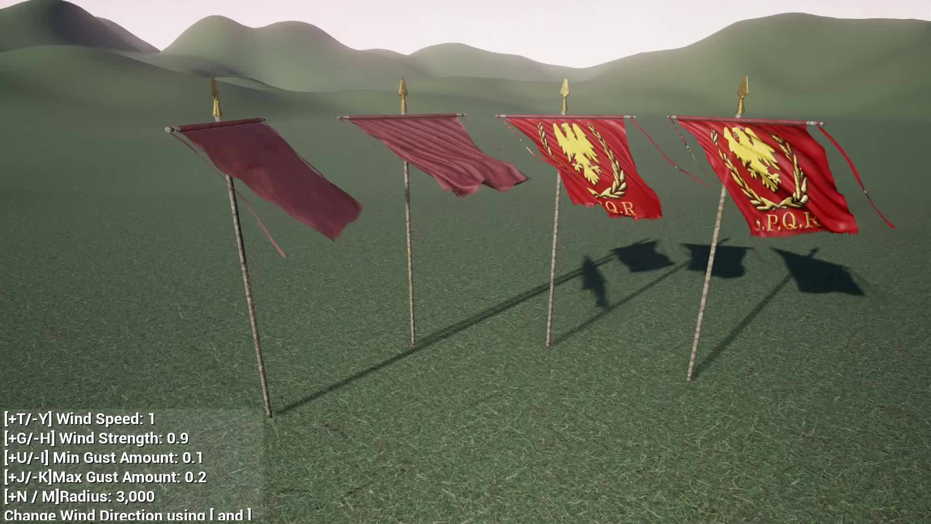 unrealengine, Roman Apex Flag Physics GIFs