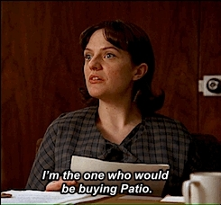 3.03, elisabeth moss, elizabeth moss, fat, gif, harry crane, mad men, madmen, patio, peggy olsen, pepsi patio, rich sommer, someone telling you you used to be fat, television,  GIFs