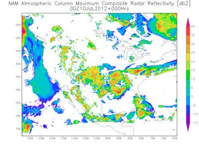 An animated image of NAM simulated radar reflectivities GIFs