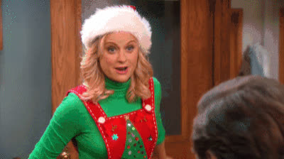 amy poehler, christmas, christmas spirit, excited, happy, happy holidays, holiday spirit, holidays, jingle bells, jolly, leslie knope, merry christmas, parks and rec, ron swanson, Parks and Rec Christmas GIFs