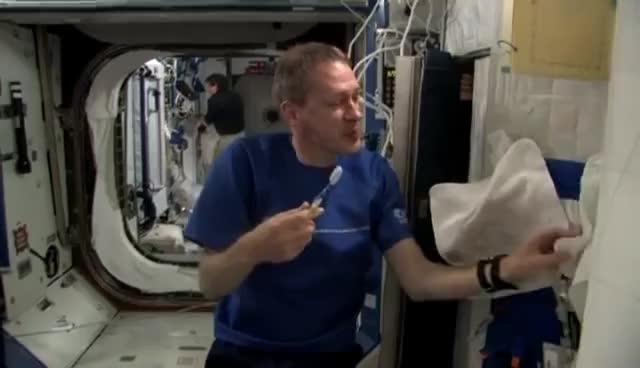 ISS, hoax, nasa, rockets, soyuz, ToothbrushScene1 GIFs