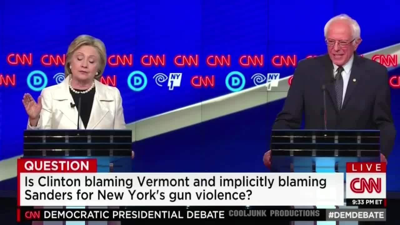 Bernie Sanders, Hillary Clinton, bernie, sanders, tarantinogifs, Bernie Sanders destroys Clinton in debate on Vermont gun laws GIFs