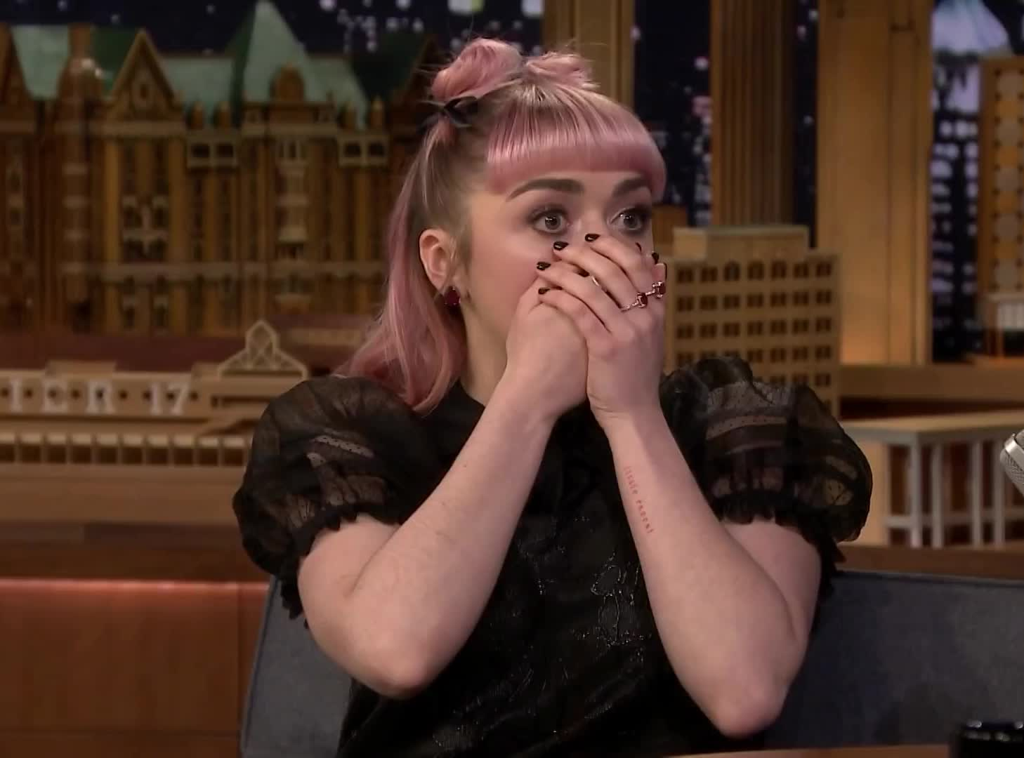 fallon, fools, game, god, got, jimmy, maisie, major, my, no, of, oh, omg, prank, shock, shocked, spoiler, stop, thrones, williams, Maisie Williams Accidentally Drops a Major Spoiler in Game of Thrones' Final Season GIFs
