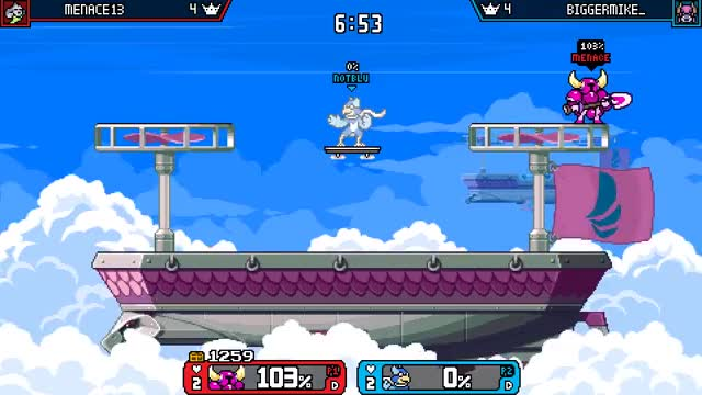 Watch blue dies at 0% again GIF by Menace13 (@menace13) on Gfycat. Discover more rivals of aether, rivalsofaether, roa, shovel knight, wrastor GIFs on Gfycat