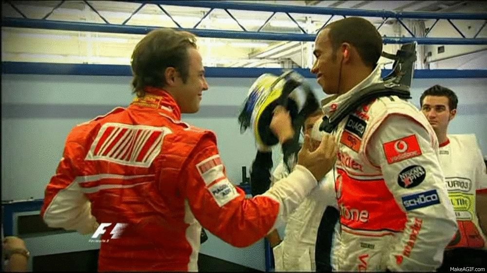 formula1gifs, lefthanging, Massa left hanging by Hamilton (2007) (reddit) GIFs