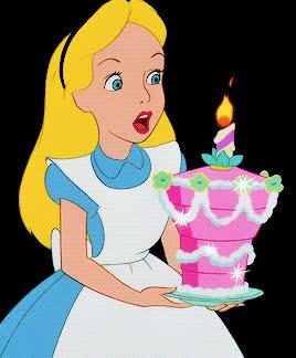 alice, alice in wonderland, birthday, birthday cake, happy birthday, Alice Blowing Out Birthday Candle GIFs