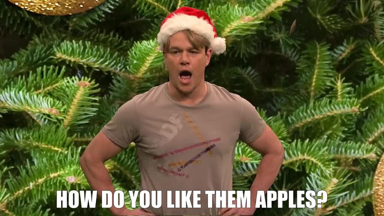 christmas, good will hunting, matt damon, saturday night live, snl, How Do You Like Them Apples? SNL GIFs