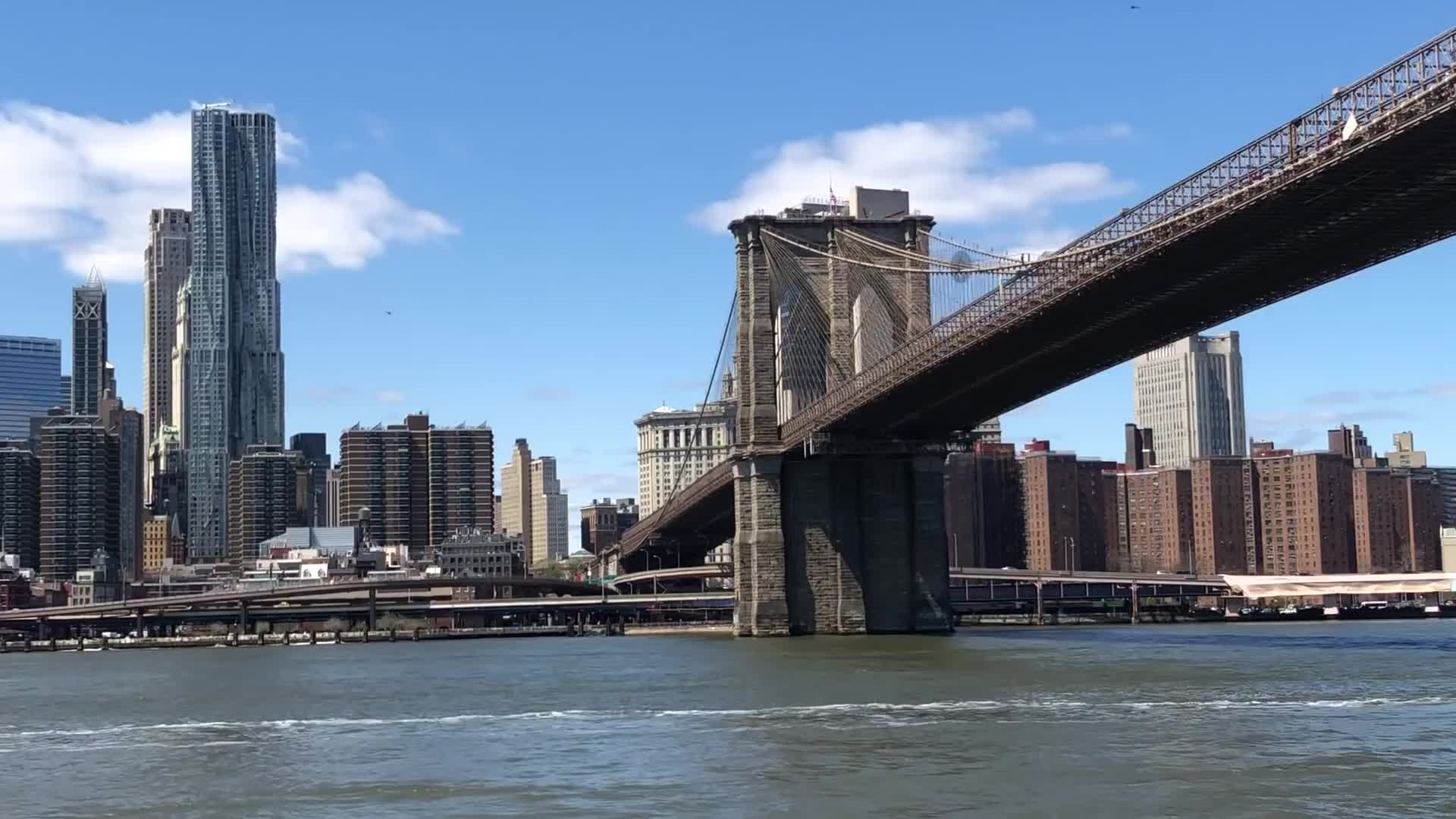 Brooklyn Bridge New York City NYC Helicopter Chopper East Ri, Military helicopter flyby underneath the Brooklyn Bridge in NYC GIFs