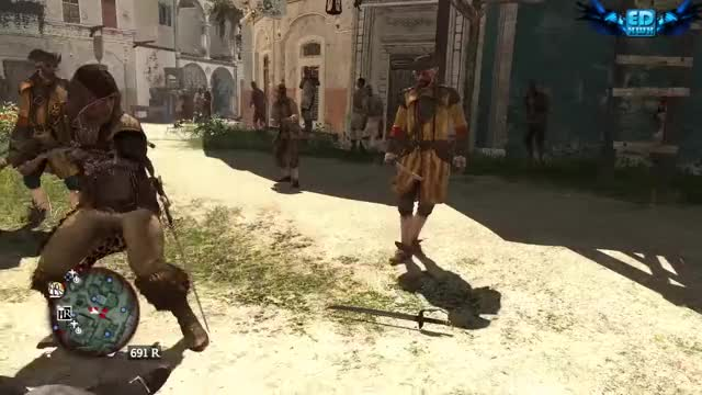 Assassin's Creed 4 Combat , Finishing Moves & Free Roam GIF