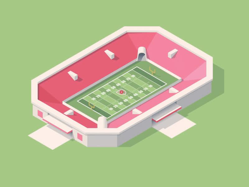 Isometric Football Stadiums GIFs
