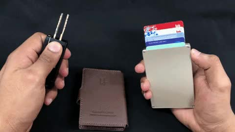 Watch cascade and keyport 2 GIF by Matthew Guy (@maniwodners) on Gfycat. Discover more Creditcardwallet, metal wallet, pocketdump, unisex wallet GIFs on Gfycat