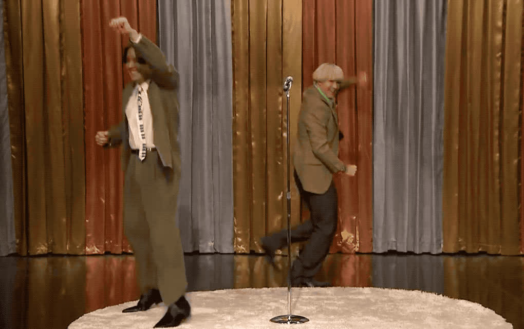 and, believin, celebrate, dance, dancing, don't, dumb, excited, fallon, ferrell, happy, heckler, his, jimmy, party, peter, stop, will, woohoo, Peter and his heckler - Don't stop believin' GIFs