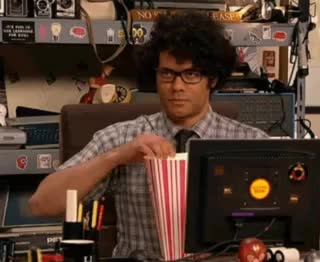 Watch Maurice-Moss-Eating-Popcorn-The-IT-Crowd.gif GIF on Gfycat. Discover more Richard Ayoade GIFs on Gfycat