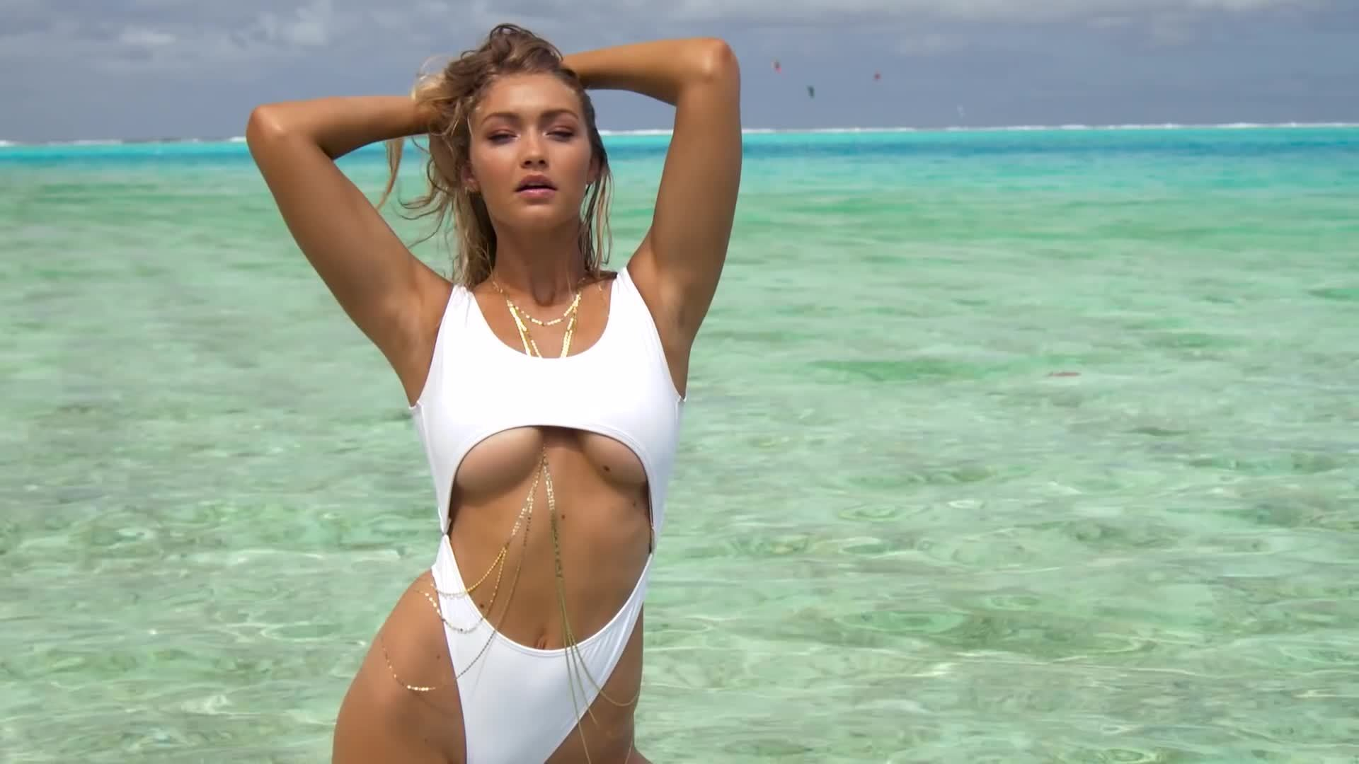 gigi hadid, sexy, siswimsuit2015, white, Gigi Hadid (Super Sexy) Behind The Scenes Look | Sports Illustrated Swimsuit 2016 GIFs