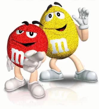 Watch and share M&Ms Animated Clip Art | Glitter Graphics » Food And Drinks » Yellow & Red M&M's GIFs on Gfycat