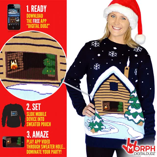 Watch and share Santas Cabin Christmas Sweater Digital Us GIFs on Gfycat