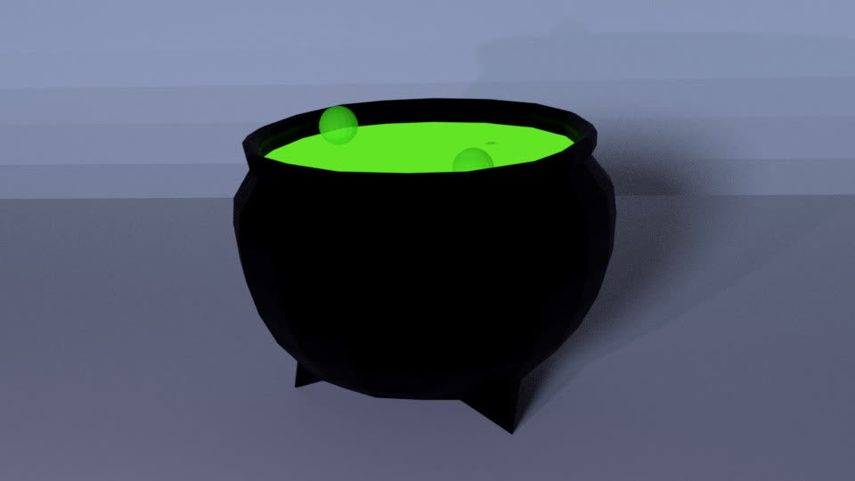 3d, 3d model, animation, blender, Low Poly Cauldron Animation GIFs