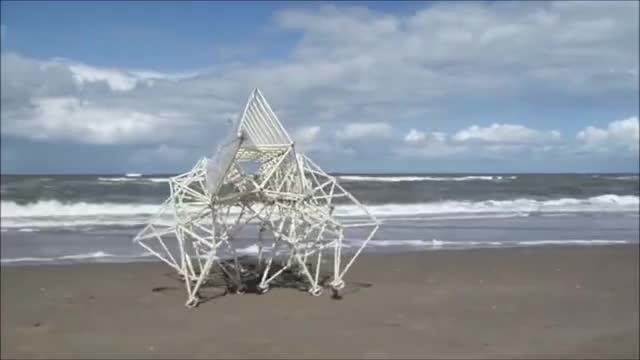 Watch Theo Jansen's kinetic sculpture, powered by wind GIF on Gfycat. Discover more gifs, strandbeest, theo jansen GIFs on Gfycat