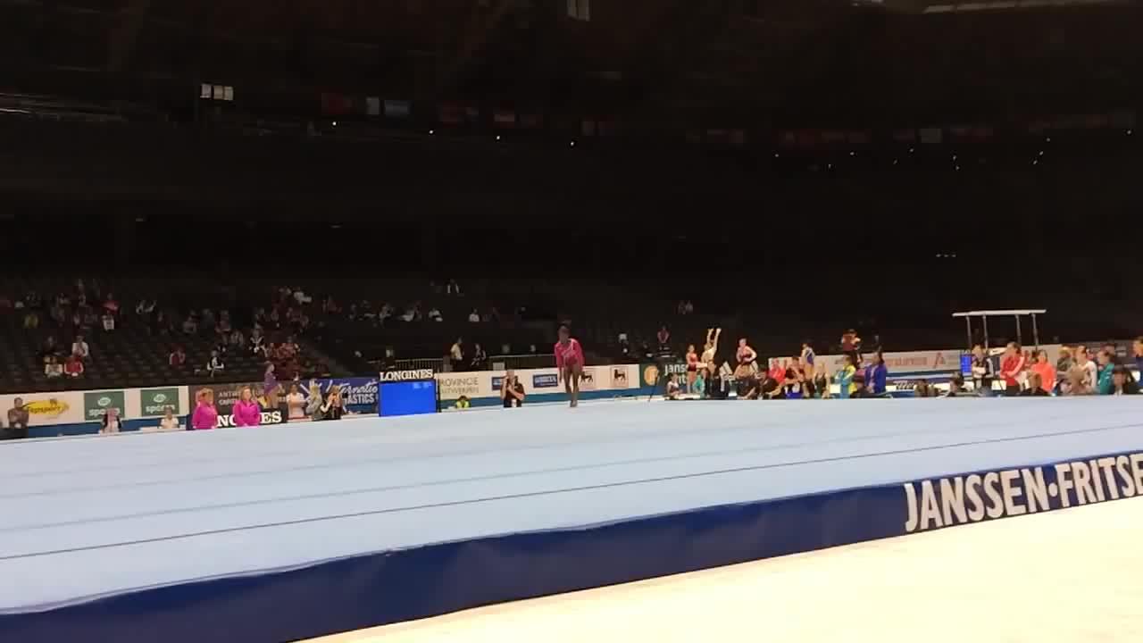gymnast, gymnastics, simone, simone biles, Simone Biles - Double Layout Half - 2013 World Championships - Podium Training GIFs