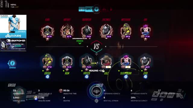 [Rating:77] C9 Grego as Lucio reach 26 Elims on Nepal Control / Overwatch Ranked Gameplay