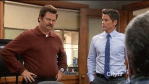 nick offerman, no, parks and rec, parks and recreation, ron swanson, corporate power GIFs