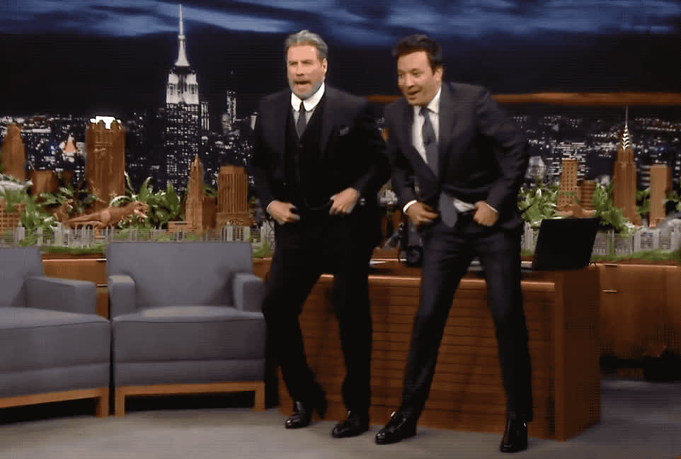 amazing, awesome, celebrate, dance, dancing, epic, excited, fallon, grease, great, happy, iconic, jimmy, john, lol, moves, party, travolta, woohoo, John Travolta & Jimmy Fallon - Dancing GIFs