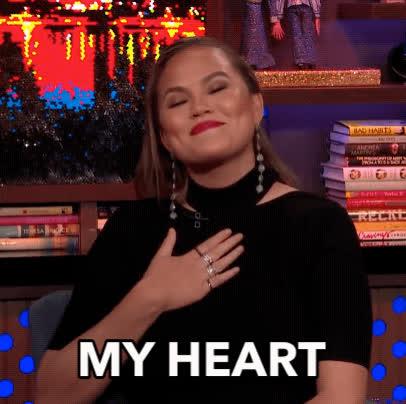 awww, blush, chrissy teigen, emotional, feels, flattered, my heart, watch what happens live, Chrissy Teigen - My Heart GIFs