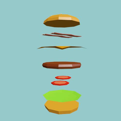 burger, cheeseburger, food, low poly, Burger GIFs