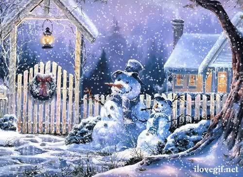 Watch and share Decor D'hiver Avec Ses Bonhommes De Neige GIFs on Gfycat