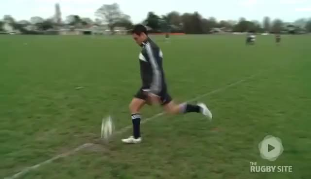 Watch and share Dan Carter: Rugby Drop Kick Restarts GIFs on Gfycat