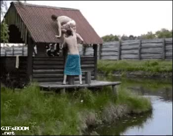 Watch fall roof GIF on Gfycat. Discover more Whatcouldgowrong GIFs on Gfycat